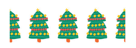 Christmas tree seamless repeating vector border. Hand drawn decorative horizontal Winter holiday design for decoration, banners, ribbons, greeting cards, scrapbooking, footer, header, dividers. Vettoriali
