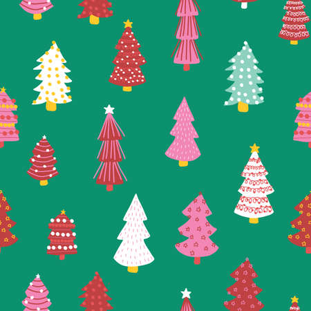 Christmas doodle trees vector background. Seamless pattern hand drawn trees. Decorative holiday background. Winter design pink white red green for fabric, gift wrap, card decoration, scrapbooking