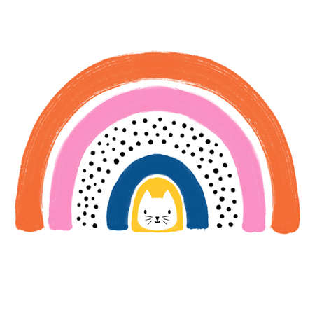 Cats in a rainbow hand drawn illustration. Cute Scandinavian style kids design on white background for fchildrens decor, greeting cards, t-shirts.