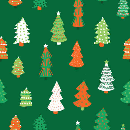Christmas trees vector pattern. Seamless background hand drawn doodle trees. Decorative holiday background. Winter design white red green for fabric, gift wrap, card decoration, scrapbooking Vettoriali