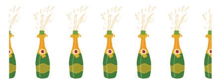 Champagne bottle seamless vector border. Hand drawn elegant sparkling alcoholic drinks horizontal repeating pattern. Use for party invites, celebrations, greeting cards, holiday decor, new year.