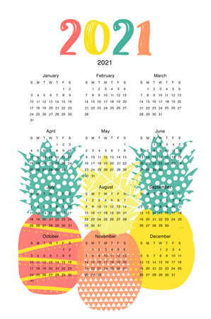 Calendar 2021 template. Wall poster vertical with abstract pineapples. High quality photo.
