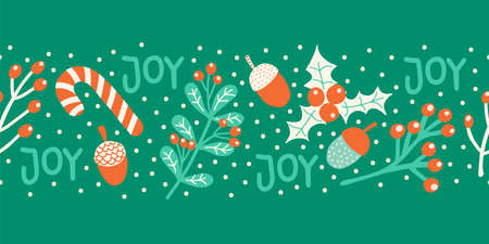 Christmas border seamless vector illustration candy cane, mistletoe, nut, joy lettering. Decorative green red white horizontal repeating Winter holiday art for greeting cards, banner, ribbon, footer Vettoriali