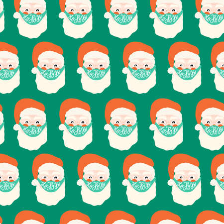 Coronavirus Santa Claus wearing face mask seamless vector pattern. Repeating Christmas 2020 background. Christmas during pandemic hand drawn illustration. Holiday design Ho ho ho lettering.