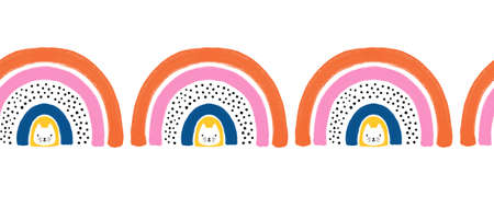 Rainbow cats hand drawn seamless horizontal border. Cute hand drawn Scandinavian style kids illustration repeating pattern for children decor, greeting cards, ribbons, fabric trim. footer, header
