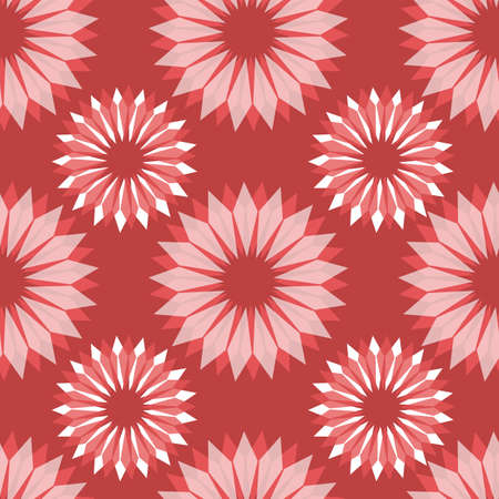 Radial abstract floral seamless vector pattern. Stylized flowers red white pink repeating background. Retro vintage style design for gift wrap, fabric, wrapping, decor.