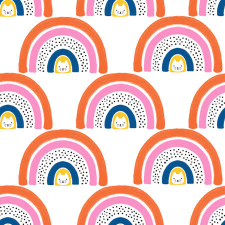 Rainbow cats seamless kids pattern. Cute hand drawn Scandinavian style children illustration. Kitty and abstract rainbow repeating background for fabric, fashion, wallpaper, gift wrap