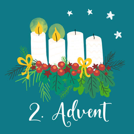 Advent wreath illustration. Christmas arrangements with 4 candles, two burning, bows, berries and pine branches. 2nd Advent. German holiday tradition. Christmas countdown for cards, social media posts