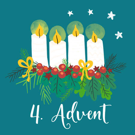 Advent wreath illustration. Christmas arrangements with 4 candles, four burning, bows, berries and pine branches. 4th Advent. German holiday tradition. Christmas countdown for cards, social media post