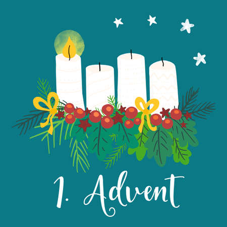 Advent wreath illustration. Christmas arrangements with 4 candles, one burning, bows, berries and pine branches. 1st Advent. German holiday tradition. Christmas countdown for cards, social media posts