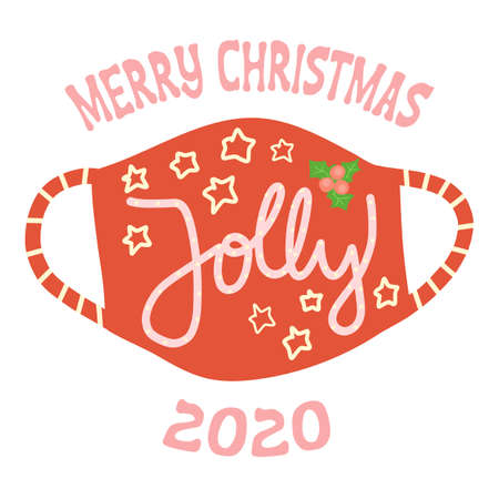 Merry Christmas face mask greeting card vector template. Square format Coronavirus Christmas Holidays 2020 with protective face mask and Jolly lettering. Use for cards, social media postings