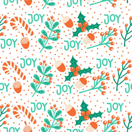Seamless Christmas pattern hand drawn vector illustration candy cane, mistletoe, nut, joy lettering. Decorative repeating background Winter holiday art for greeting card, Christmas decor, fabric