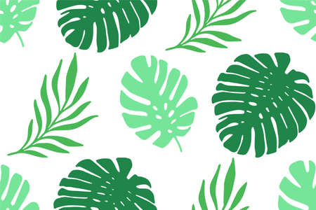 Tropical palm leaves seamless vector pattern. Monstera leaves exotic repeating background. Summer collage for fabric, wallpaper, wrapping Vettoriali