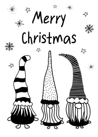 Christmas gnomes greeting card template. Hand drawn vector illustration of three gnomes black on white. Monochrome Holiday design.