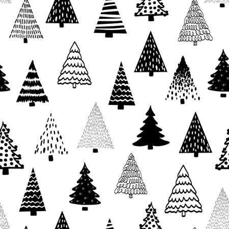 Doodle tree pattern black on white seamless vector pattern. Monochrome Christmas trees repeating background hand drawn sketch style. Modern Holiday design for fabric, wrapping paper.