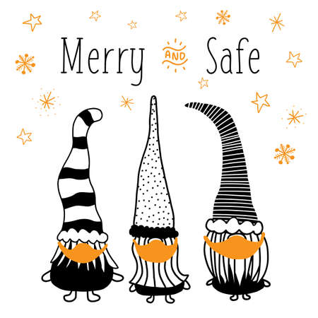 Christmas gnomes wearing face masks against Coronavirus. Holidays 2020 greeting card template Merry and Safe. Hand drawn vector illustration three gnomes black on white. Vettoriali