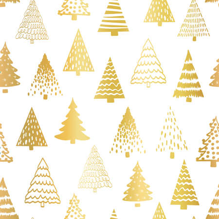 Doodle tree pattern gold foil on white seamless vector pattern. Metallic golden foil Christmas trees repeating background hand drawn sketch style.