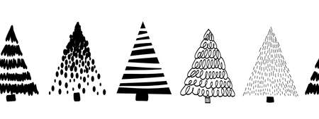 Doodle tree pattern black on white seamless vector border. Monochrome Christmas trees repeating pattern hand drawn sketch style. Vettoriali
