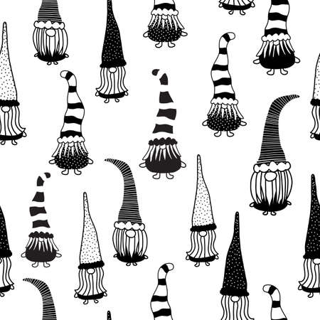 Christmas gnomes seamless vector pattern. Hand drawn illustration of gnomes black on white repeating horizontal background. Monochrome Holiday design for decor, fabric, gift wrap Vettoriali