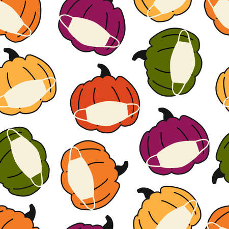 Corona Pumpkin Seamless Vector Pattern. Pumpkins wearing face masks. Covid 19 virus Thanksgiving background. For Holiday 2020 decoration, fabric, invitation cards, greeting cards, face mask