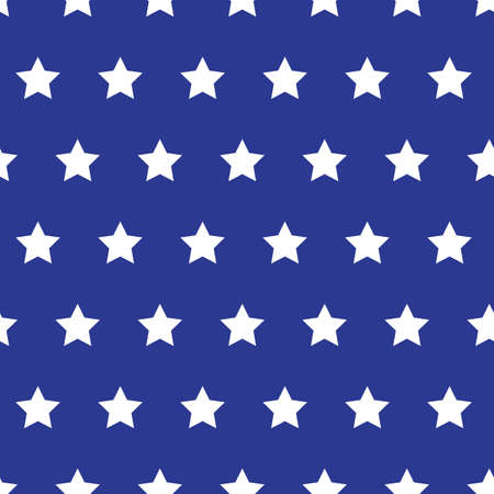 White stars on blue background grunge style seamless vector pattern. American flag repeating background.