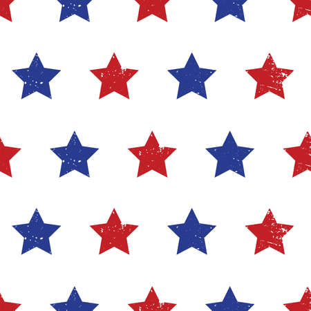 Blue red stars seamless vector background. Patriotic repeating pattern with stars grunge texture style