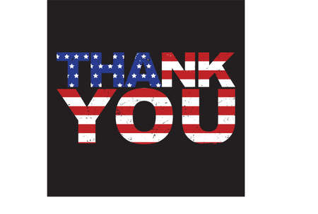 Thank You American flag vector illustration grunge style. Patriotic USA lettering design.