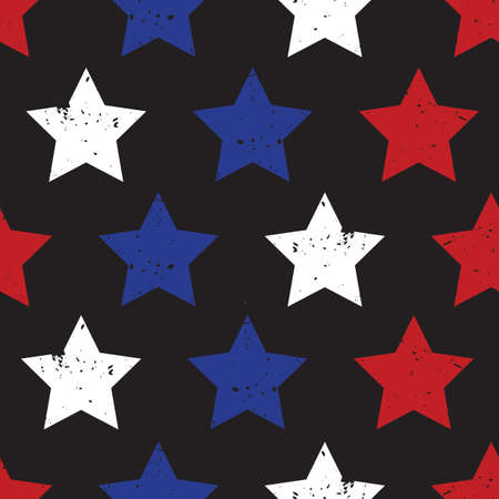 Blue red stars on black seamless vector background. Patriotic repeating pattern with stars grunge texture style Vettoriali