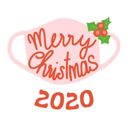 Merry Christmas face mask greeting card template. Square format Christmas Holidays 2020 with protective face mask against Coronavirus.