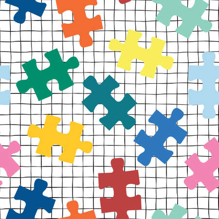 Puzzle pieces seamless vector background on a grid. Repeating pattern for fabric, kids wear, childrens decor.