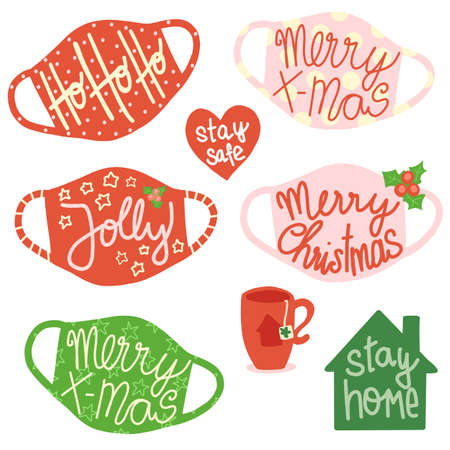 Christmas face masks Social distancing vector icon set. Christmas Holidays 2020 decor protective face mask against Coronavirus.