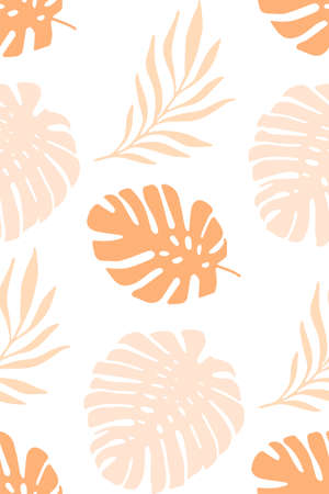 Tropical palm leaves seamless vector pattern pink orange coral on white. Monstera leaves exotic repeating feminine background. Summer collage for fabric, wallpaper, wrapping Vettoriali