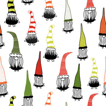 Christmas gnomes seamless vector background. Hand drawn illustration of gnomes black red green repeating pattern. Holiday design for decor, fabric, gift wrap