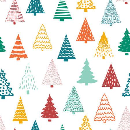 Christmas doodle trees vector background. Seamless pattern hand drawn trees. Decorative holiday background. Minimalist Winter design orange gold red green white for fabric, gift wrap, card decoration.