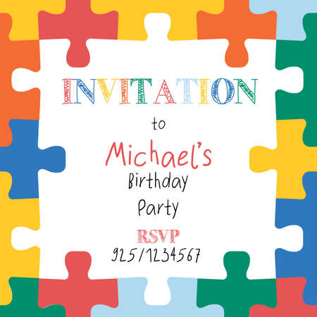 Puzzle pieces border frame. Square kids invitation template. Hand drawn vector illustration for children decor, kids party invite, birthday invitation. Editable greeting card design.