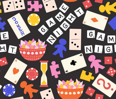 Game night seamless pattern. Board games repeating background. Hand drawn illustration of poker chips, play cards, dice, puzzle pieces. Use for kids decor, fabric, wrapping, toy store. Archivio Fotografico