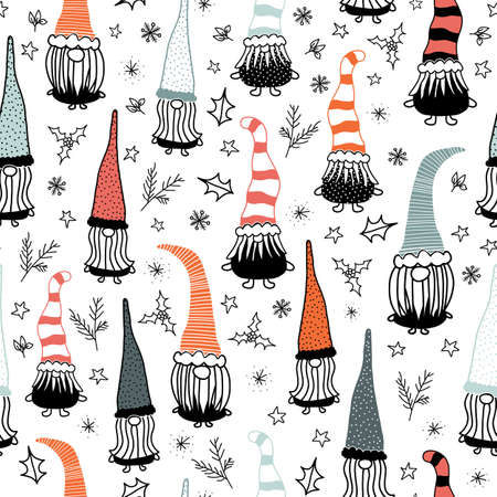 Seamless vector background Christmas gnome. Hand drawn illustration of gnomes black red repeating pattern. Holiday design for decor, fabric, gift wrap Vettoriali