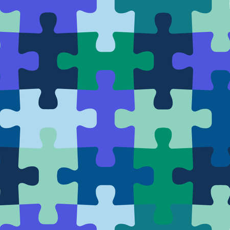 Seamless vector background jigsaw puzzle pieces. Repeating blue green teal pattern for fabric, kids wear, childrens decor.