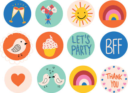 Icon set cute. Hand drawn vector elements on circles. For kids and party decor. Wallpaper screen icons for mobile phones.