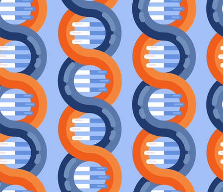 DNA strands molecule seamless vector pattern. Repeating background Spiral genetic dna medical icon. Helix structure symbol. DNA strands Magnification double helix structure blue and red