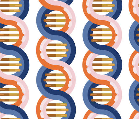DNA molecule seamless vector background. Repeating pattern Spiral genetic dna strands medical icon. Helix structure symbol. DNA strands Magnification double helix structure blue and red
