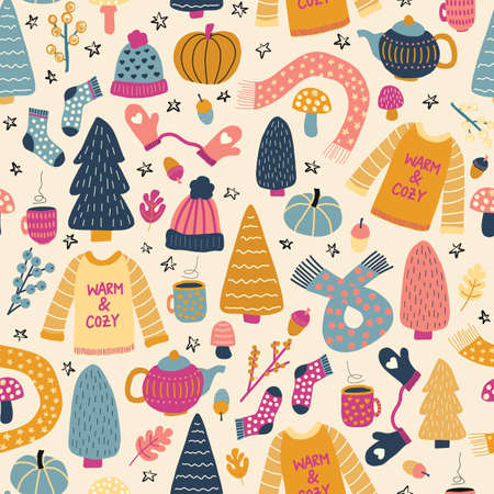 Winter wear seamless vector pattern. Autumn winter hygge background. Hand drawn teapot, wool sweater, hat, mittens, tea mug, trees, scarf, socks. Warm and cozy winter knit wear Scandinavian style.