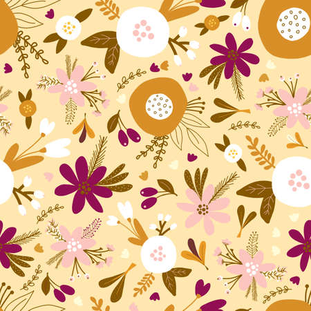 Seamless floral vector pattern with golden, white, and pink flowers and plants. Repeating background flat flowers Scandinavian style. Use for fabric, wallpaper, gift wrap, home decor.