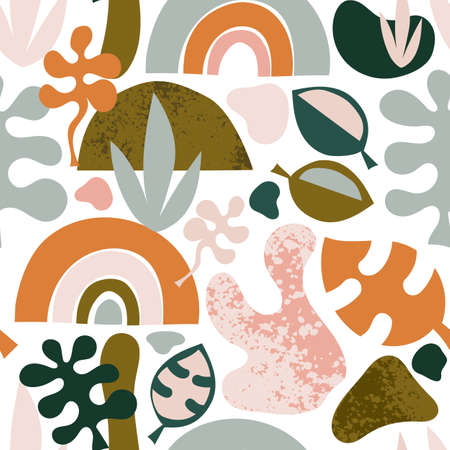Abstract shapes seamless vector background. Organic plant and rainbow repeating contemporary background. Leaves pink orange blue modern design for fabric, wrapping, wallpaper.