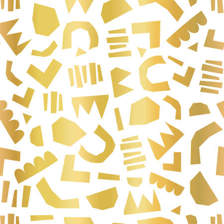 Modern abstract gold foil cut out shapes background. Seamless faux metallic golden shiny collage vector pattern. Contemporary art. Geometric shape pattern for wrapping, packaging, elegant home decor.