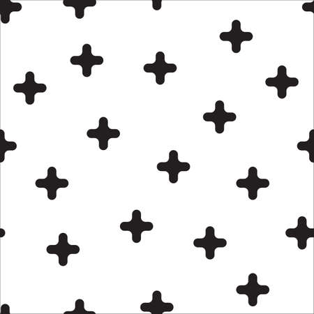 Black cross randomly placed on white background. Seamless repeating vector pattern monochrome.