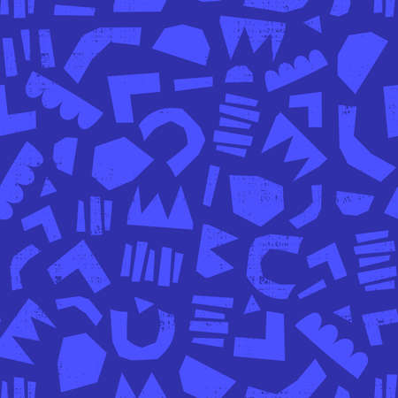 Modern abstract cut out shapes royal and classic blue background. Seamless papercutting collage vector pattern. Contemporary art blue hues. Simple geometric shapes pattern for fabric, decor, packaging