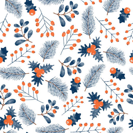 Christmas mistletoes seamless watercolor pattern. Blue and red Christmas holiday florals repeating Hansd drawn background with branches and berries. Use for wrapping, gift bags, holiday decor, fabric.