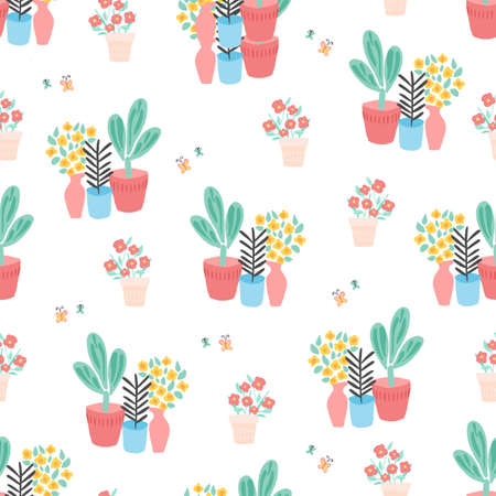 Plant pots seamless pattern. Repeating background with potted plants and butterflies flat Scandinavian style. Cute Room plants design. Use for spring, summer, novelty fabric, wallpaper, wrapping Фото со стока