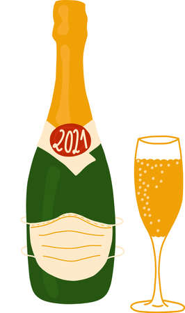 Champagne bottle wearing a face mask 2021 New Year celebration vector illustration. Champagne flute and bottle isolated. 2021 Coronavirus New Year clip art design